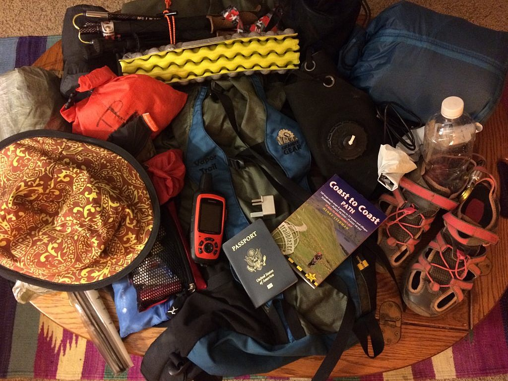 All of the gear in a pile ready to pack in the rucksack for the Coast-to-Coast Trail and ali's Loop of the Lake District.