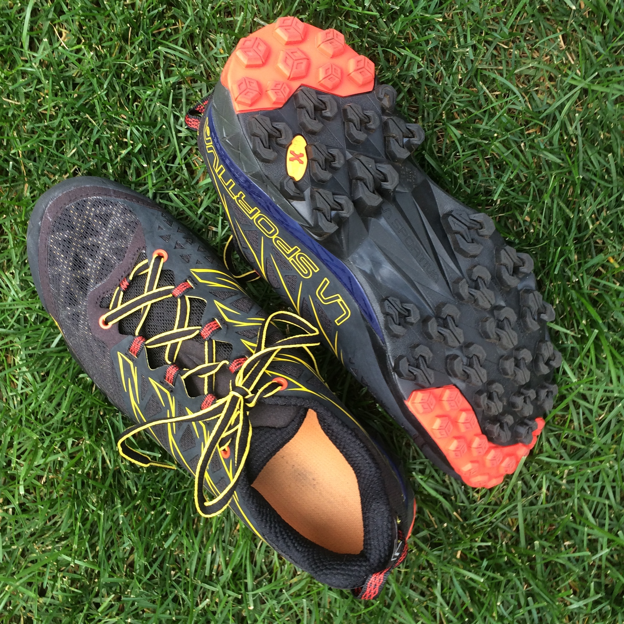 La Sportiva uses a patented rubber sole to make the Akyra responsive in uneven and wet terrain.