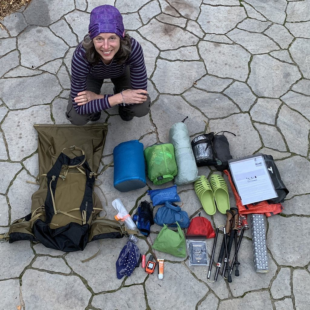 The Blissful Hiker Alison Young with her ultralight gear laid out and ready to go to New Zealand.