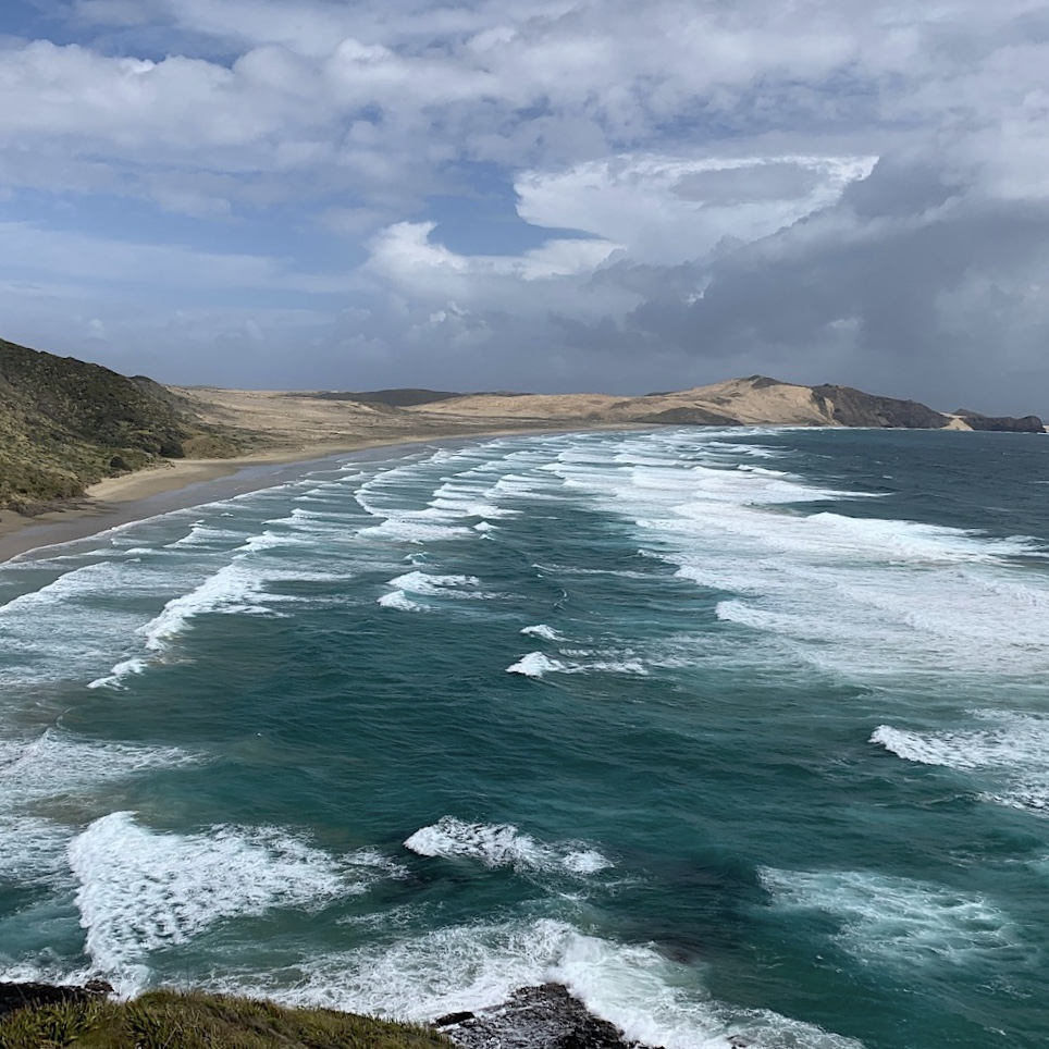 The brilliant aqua Tasman Sea was a constant churning of waves.