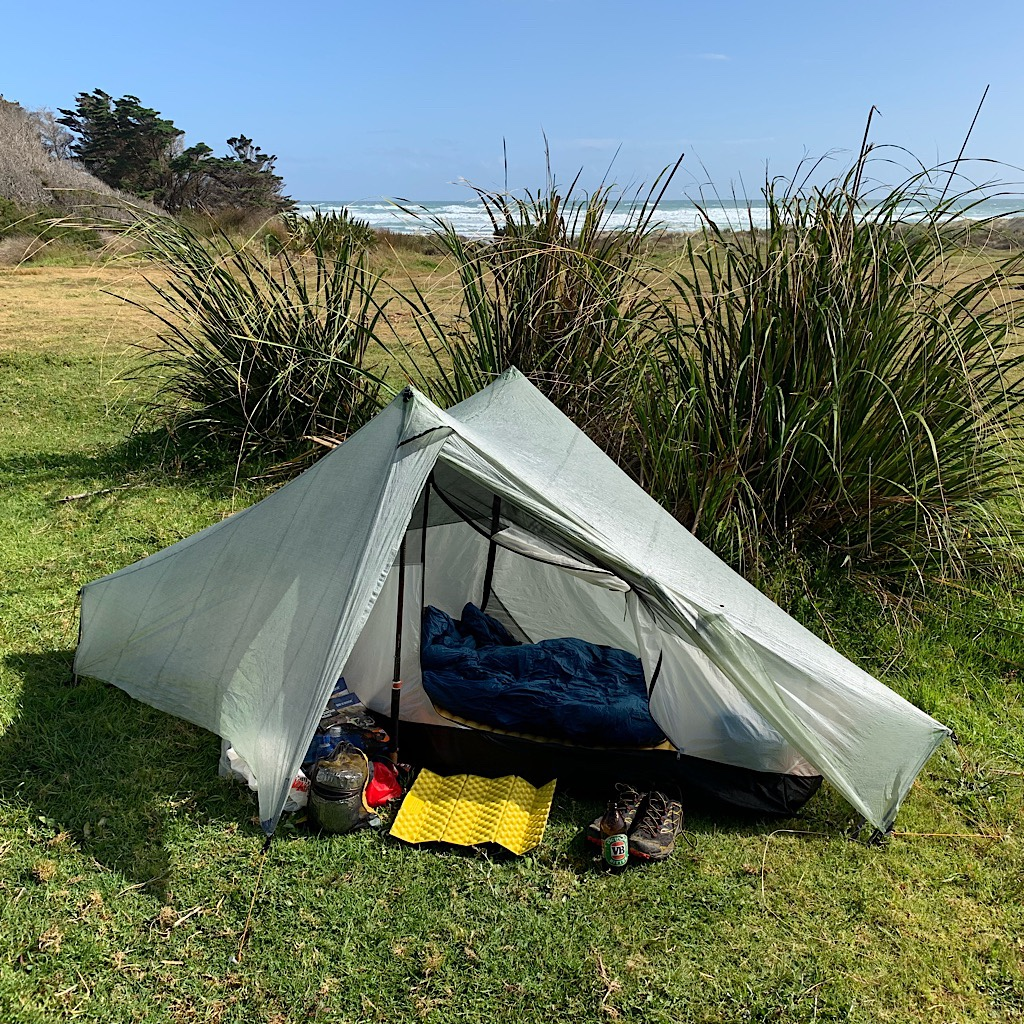 I set my tent at Maunganui Bluff in a wind break.