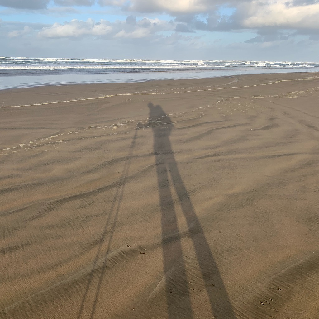 I mostly walked alone on the Ninety Mile Beach with my shadow both literally and figuratively.