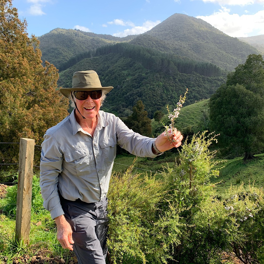 Friend of a friend of a friend, Peter, holds up a manuka branch just before we enter the New Zealand bush.