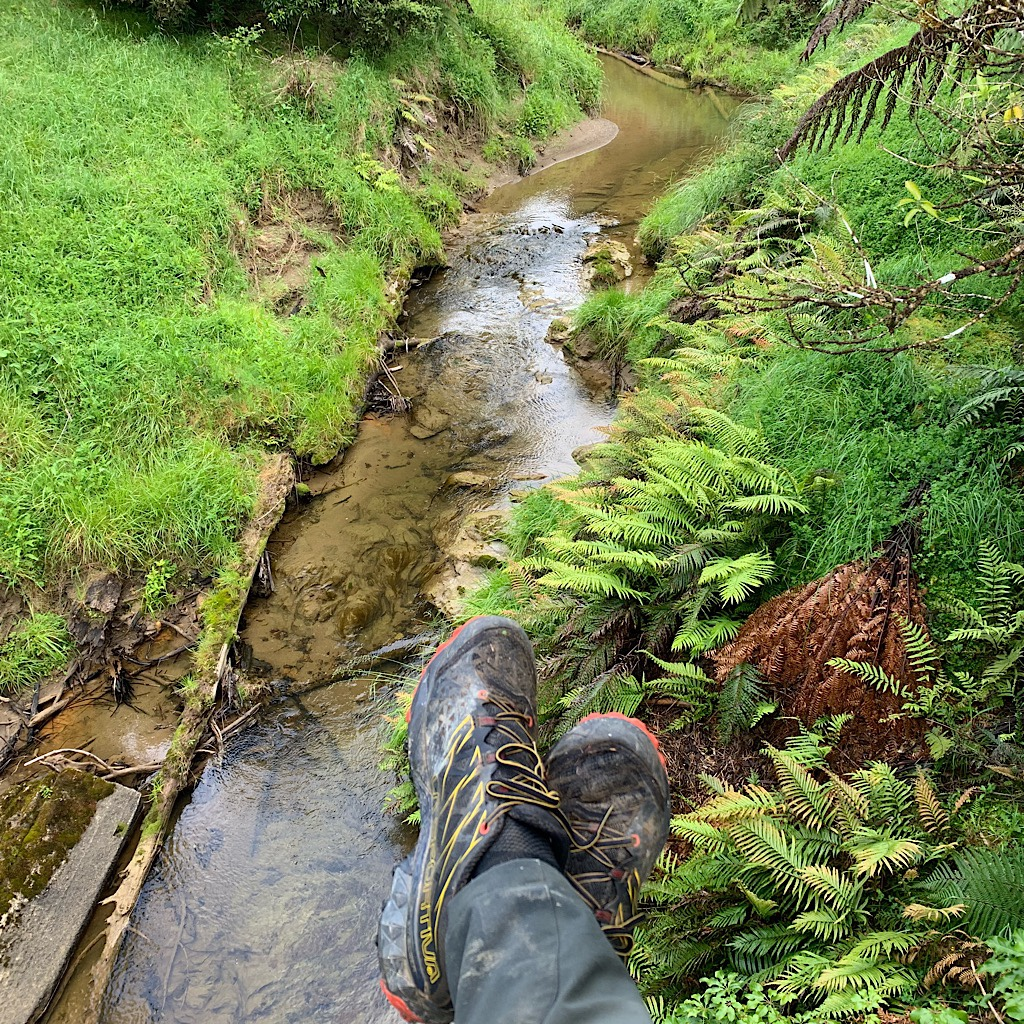 Kicking back next to a stream.