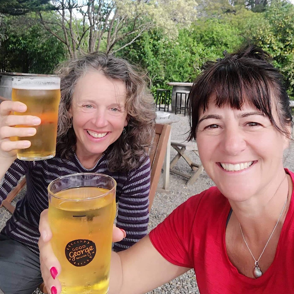 A celebratory beer at Stone Store near Kemp House in Kerikeri. Nothing ever tasted so good.
