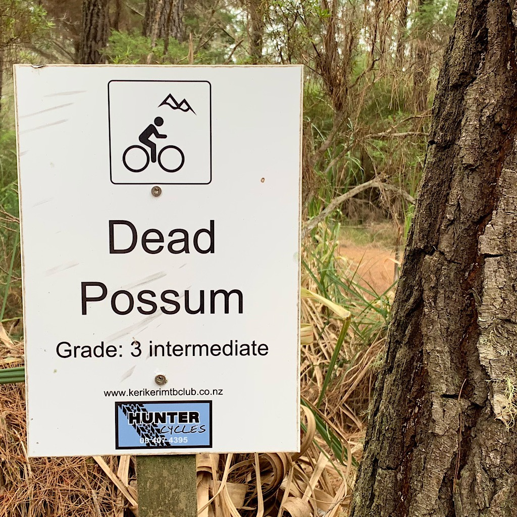 """The only good possum is a dead possum"" is the theme of this mountain bike trail."