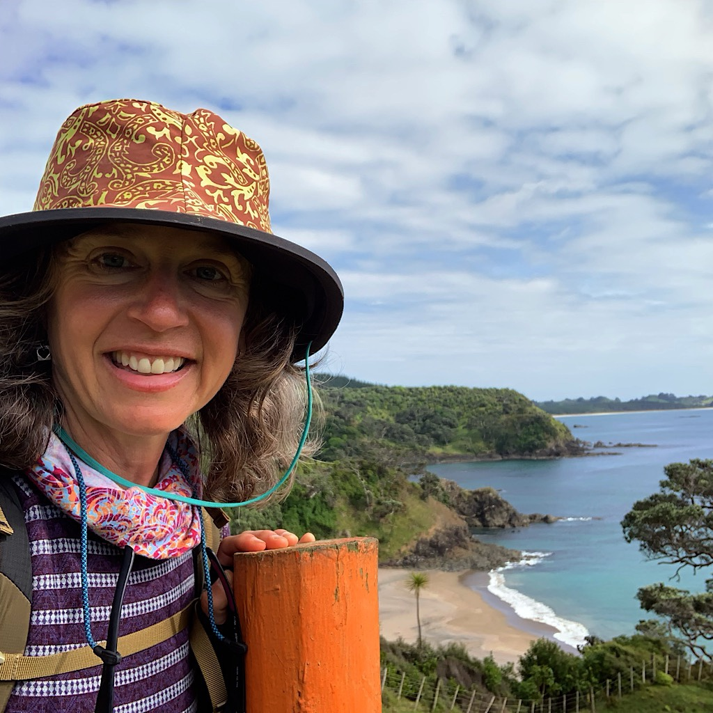 The Blissful Hiker looking back at Sandy Bay in Northland, New Zealand.