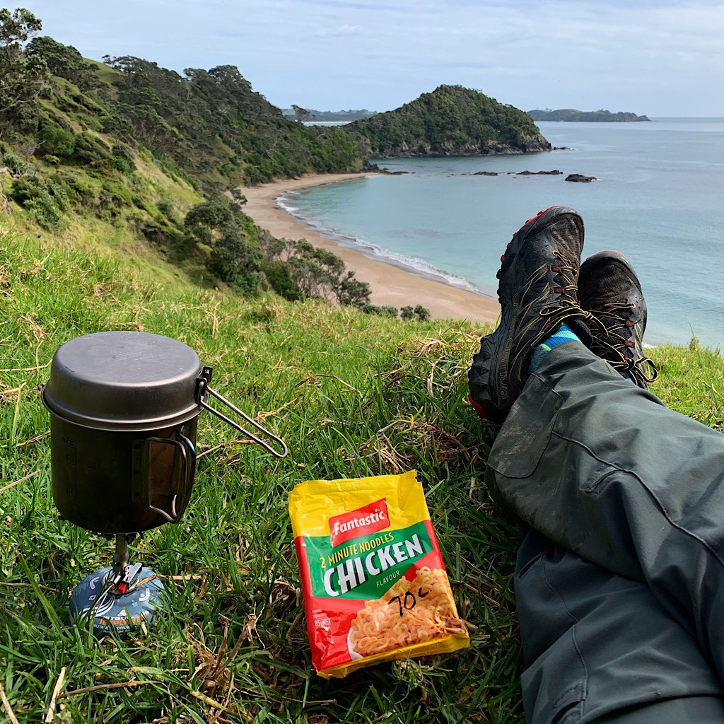 Lunch above Oruaea Bay of Fantastic Chicken for 70-cents NZ.