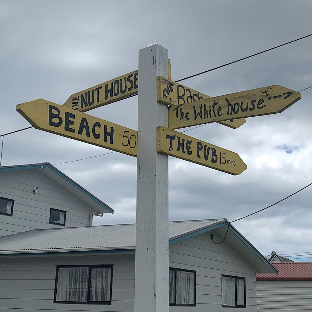 The street sign ensure we know where all the important locations are in this laid back New Zealand beach town..