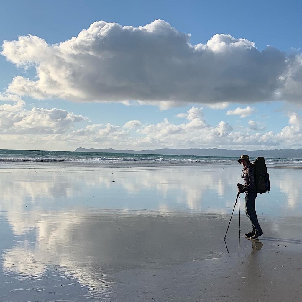 Cloud and Blissful Hiker reflections on the Bream Bay walk near Ruakaka.