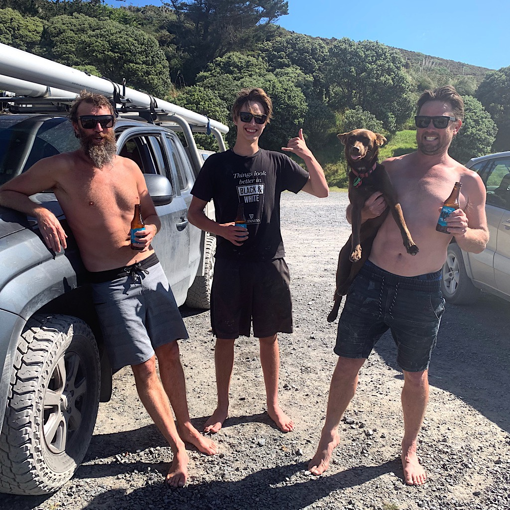 Surfers on the beach were coaxed out of one beer and good advice to just camp on the beach.