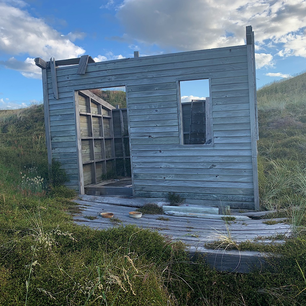 A dilapidated building I thought I might camp in on Pakiri Beach.