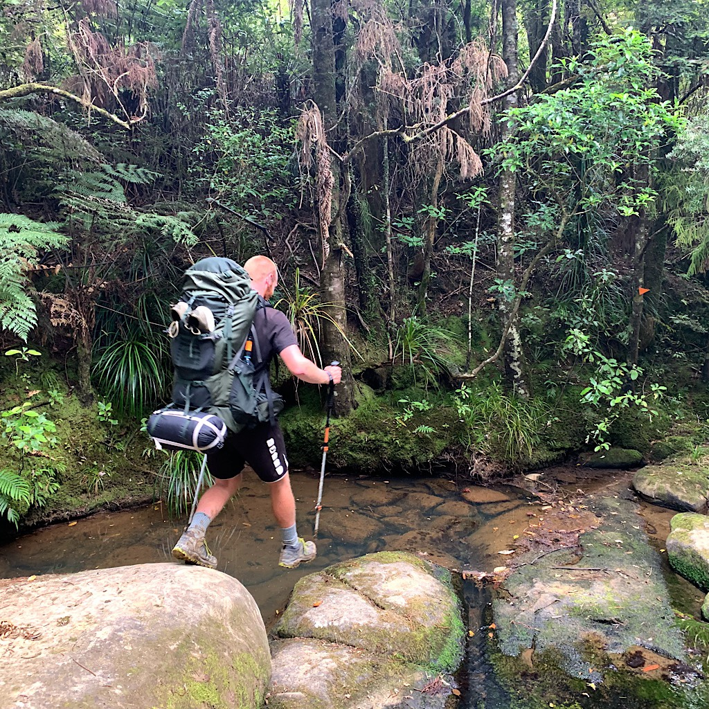 Stefan crossing the Waiwhiu Stream.