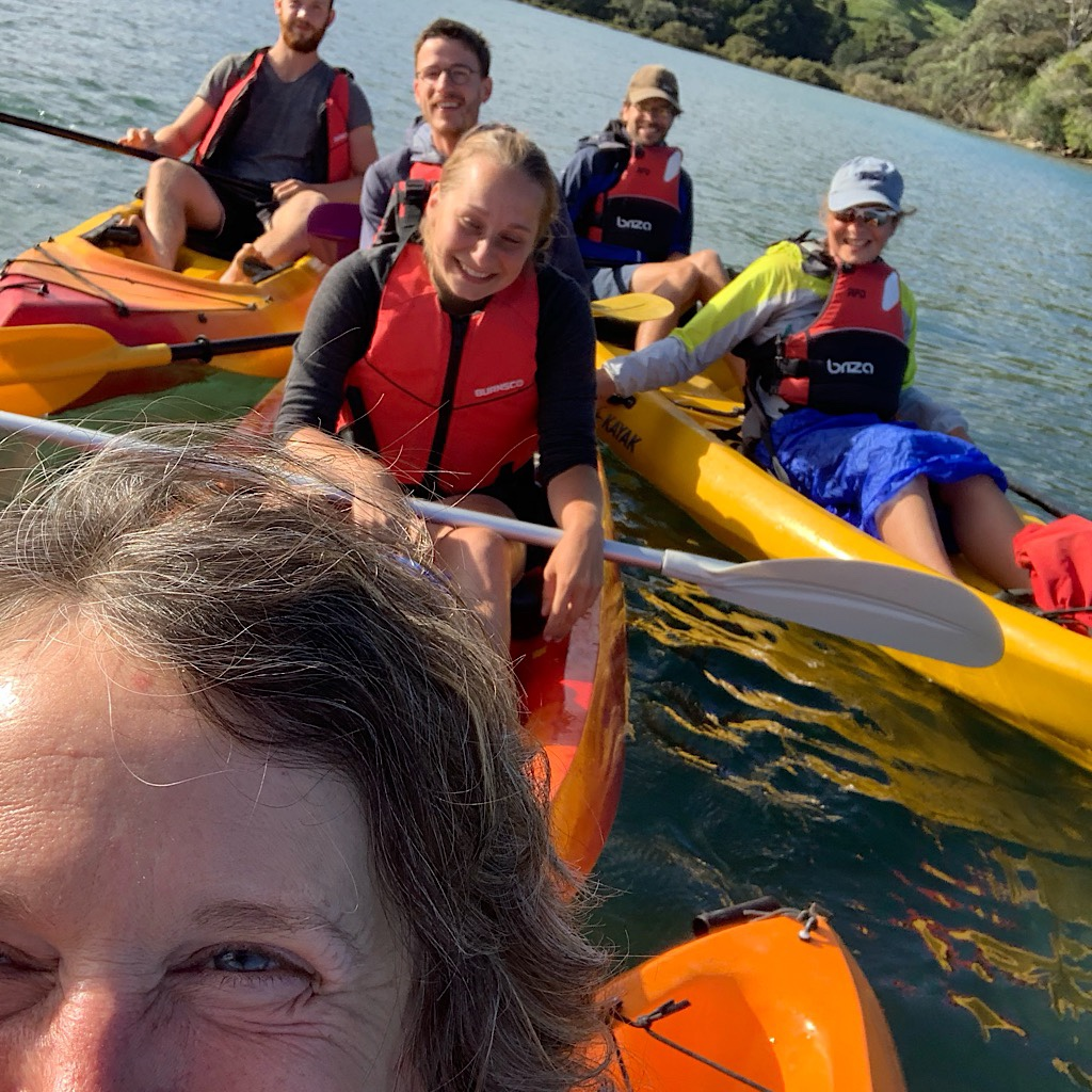 A lovely collection of friends on the Puhoi River paddle. We waited all day for the tide to go out.