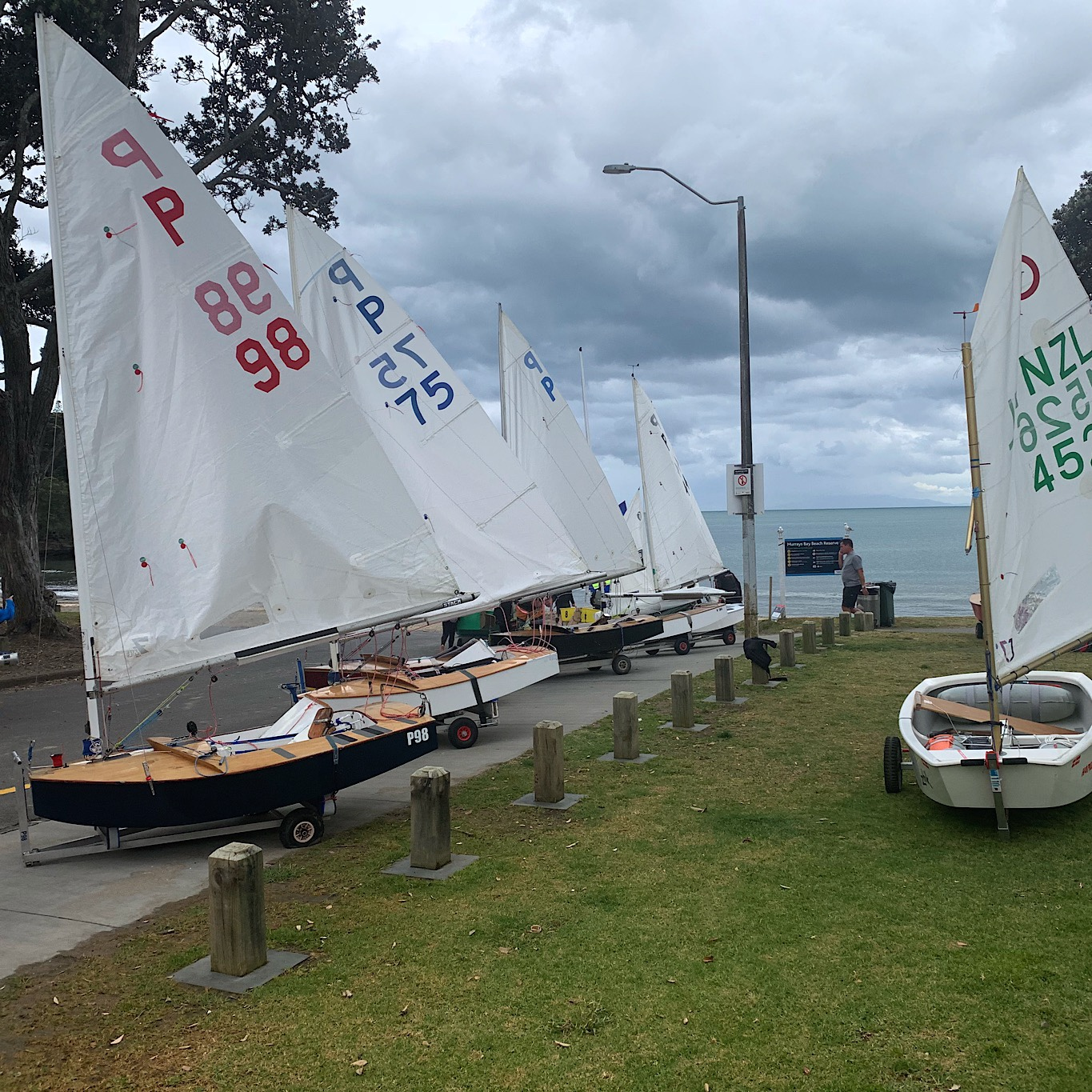 Sailboats ready to launch.