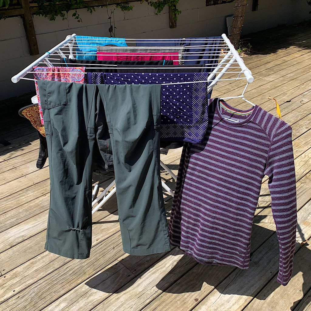 All of Blissful's hiking clothes drying in the sunshine. After a month of hiking, she was wiped out physically and mentally.