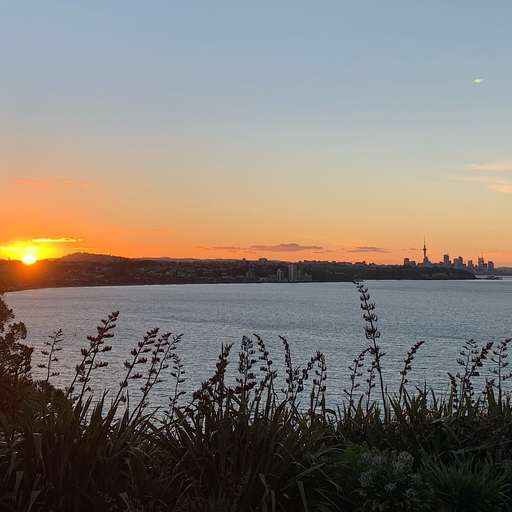 Sunset from Mission Bay, Auckland.