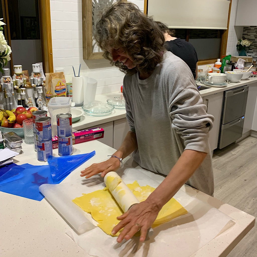 Rolling out dough for Thanksgiving pies. Susie imported the tradition when she settled in New Zealand.