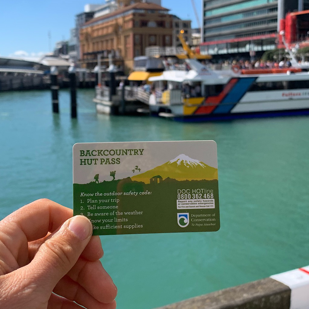 Purchasing my hut pass at the Department of Conservation for the thirty or so remote huts I'll stay in on the south island.