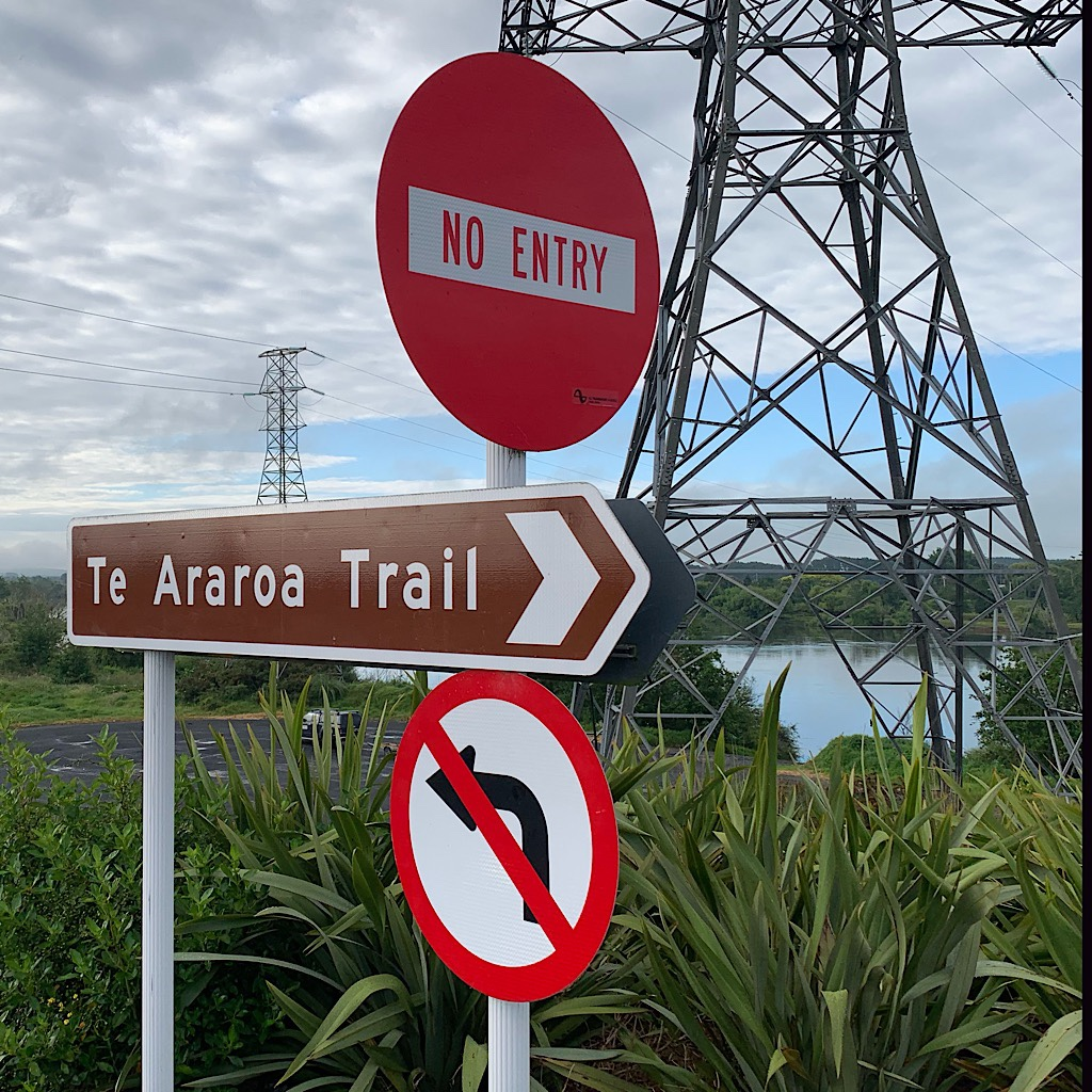 One of the best signs on the trail at a roundabout near Huntly.