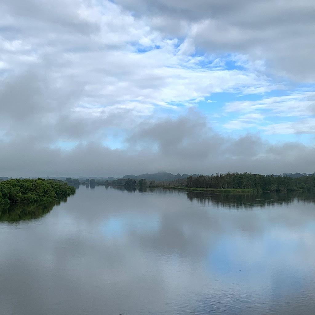 Mist rising on the Waikato River.
