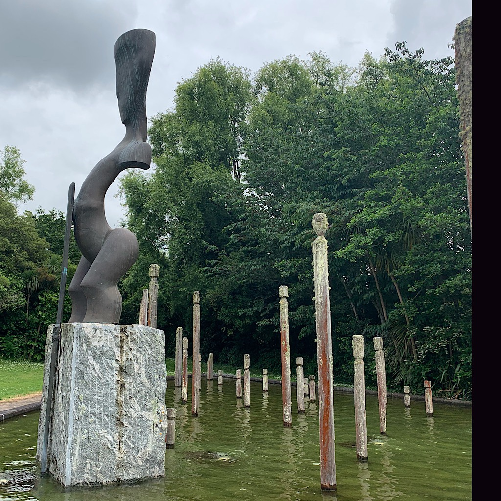 The trail passes right through the beautiful sculpture garden in Huntly.