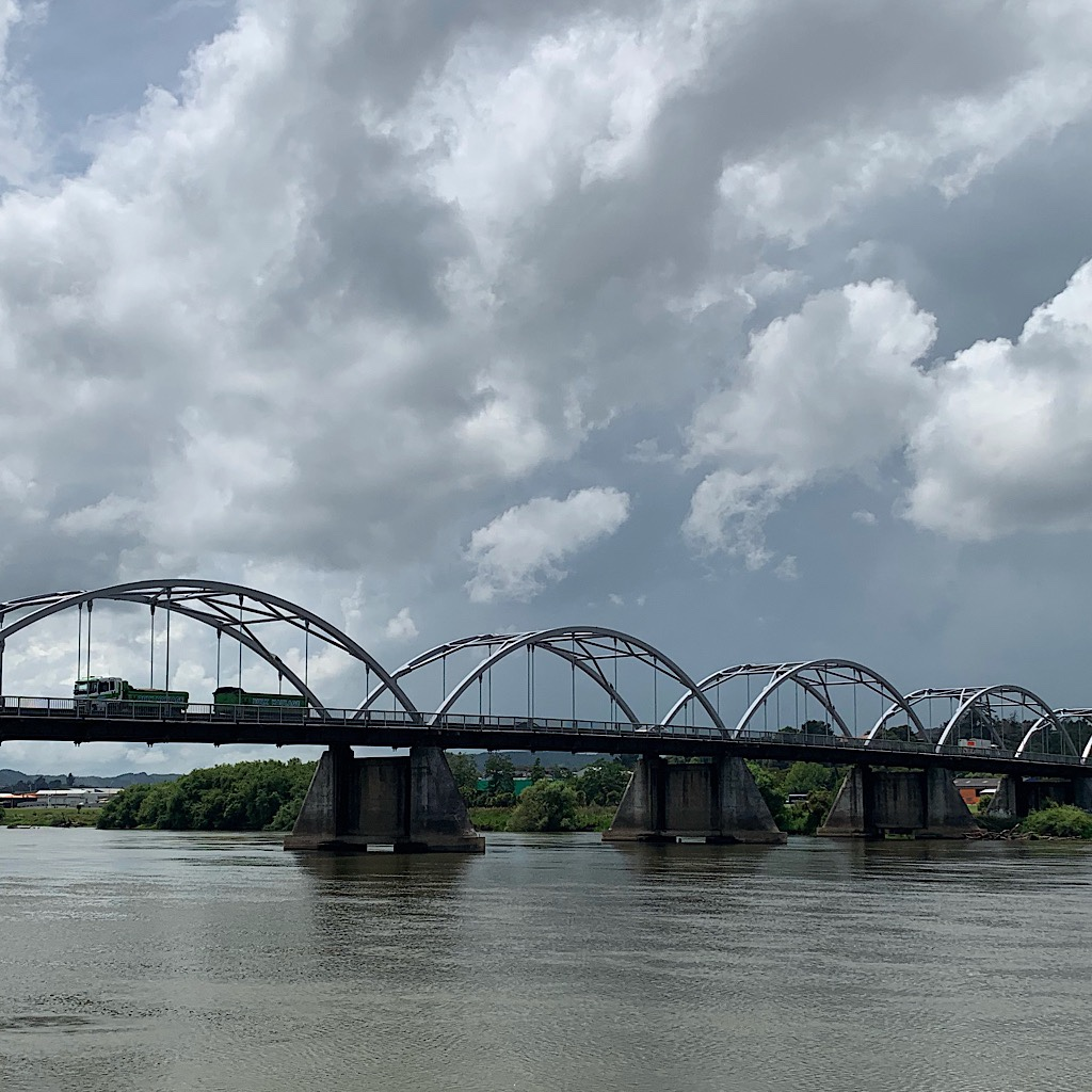 The Tainui Bridge is a 7-span bowstring-arch over the Waikato River.