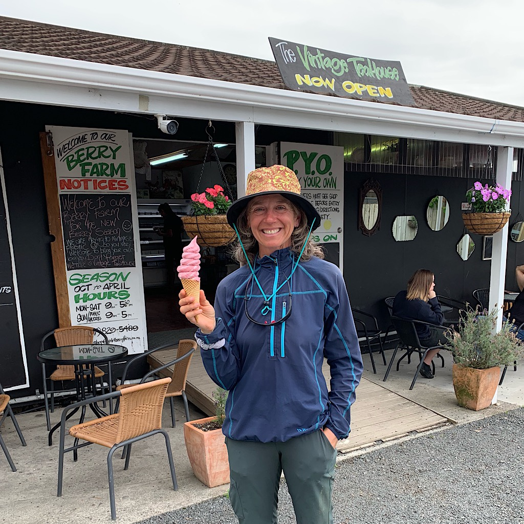 Irene immediately too me for a fresh berry cone when we met.