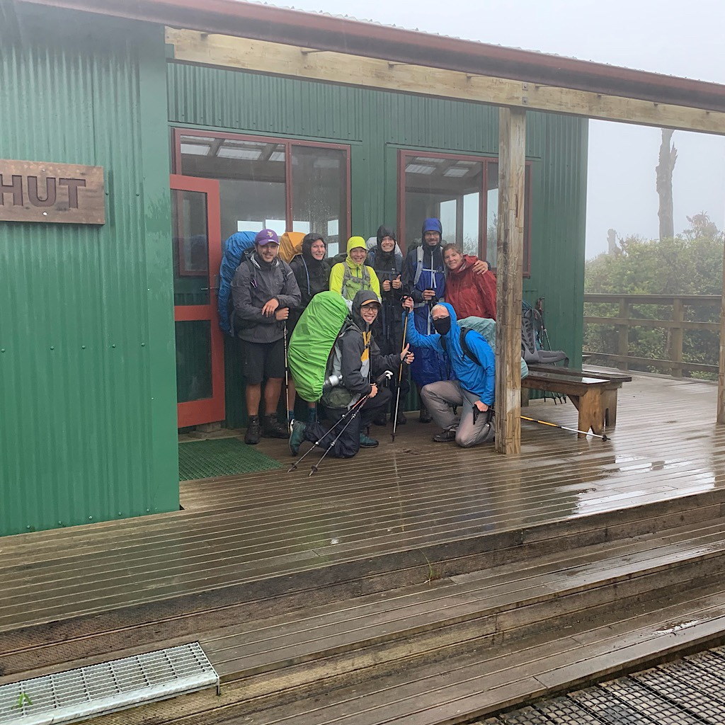 Figuring there was safety in numbers, all nine of us leave together for the five hour walk off Pirongia in driving rain storm.