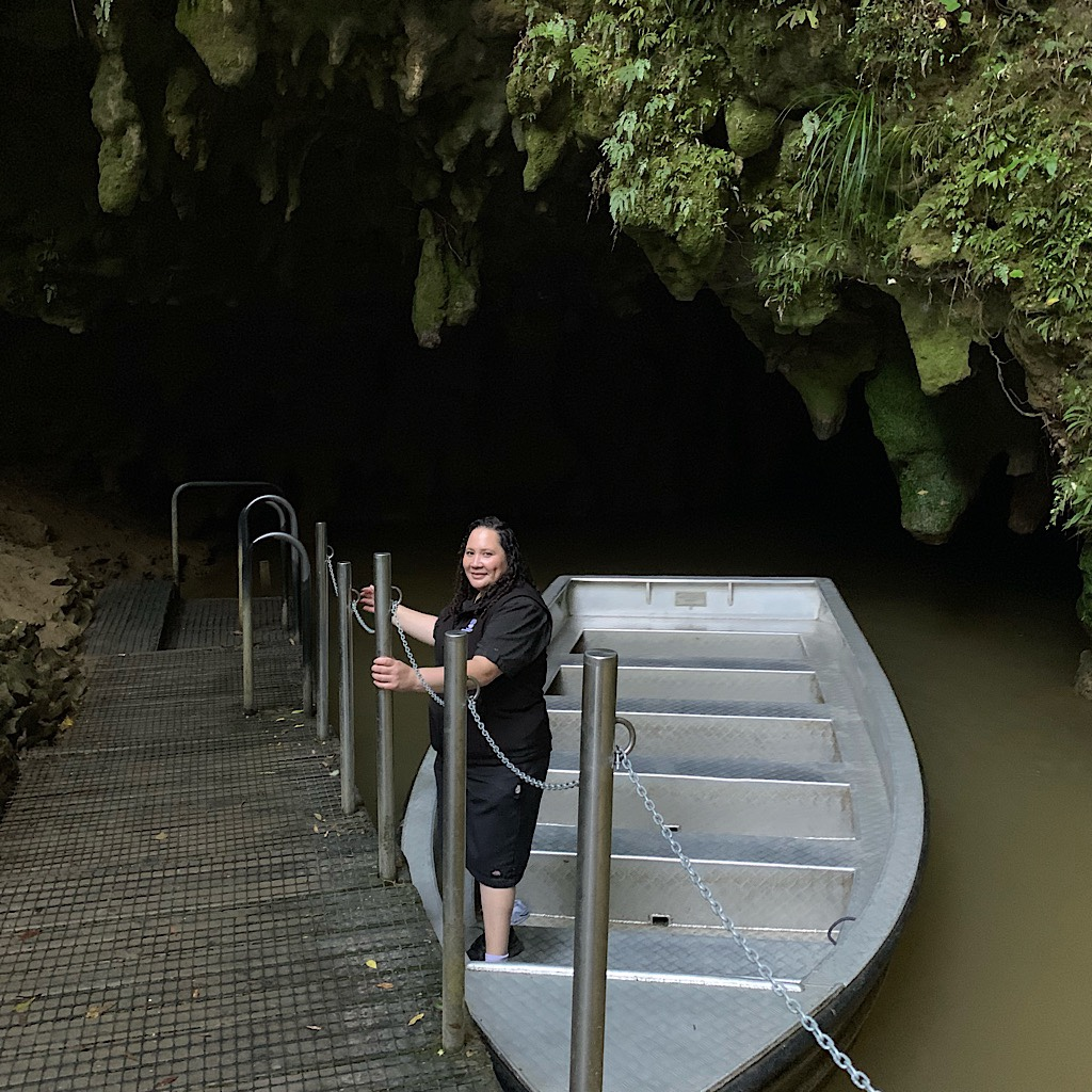 No photographs were allowed inside the caves, but I snapped this picture of the captain of our little boat.