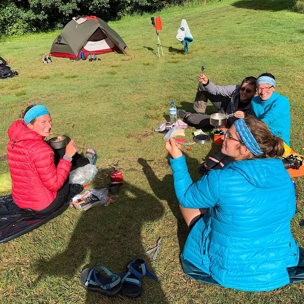 Te Araroa hikers at the Ngaherenga Campsite.