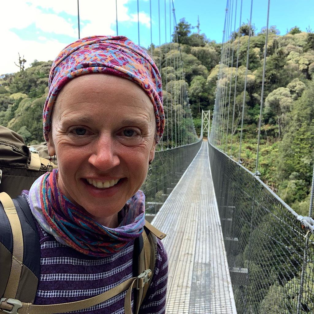 The Orauhora Bridge, one of eight spectacular suspension bridges on the Timber Trail.