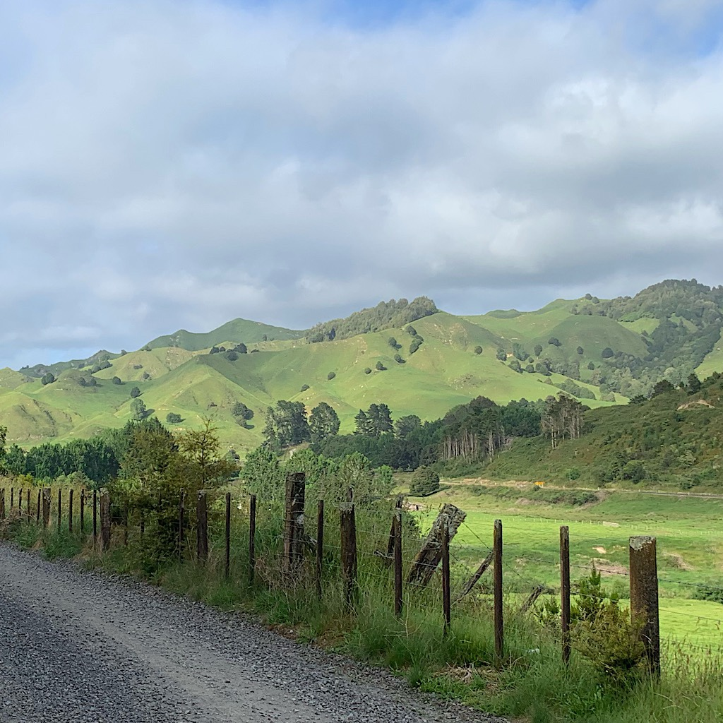 The magical green hills of King Country look almost fake under receding rain clouds.