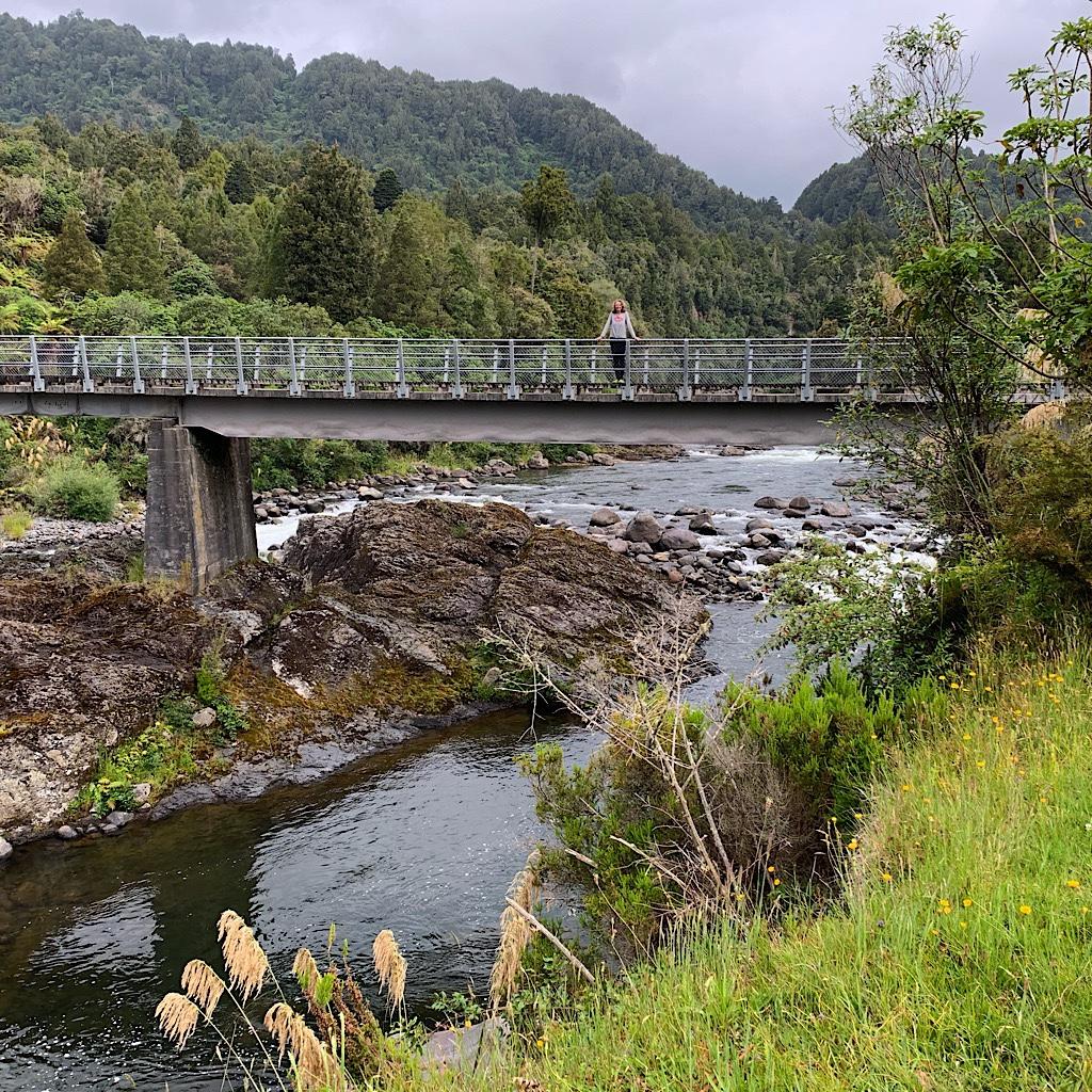 The bridge over the Whakapapa River where I spotted two whio.