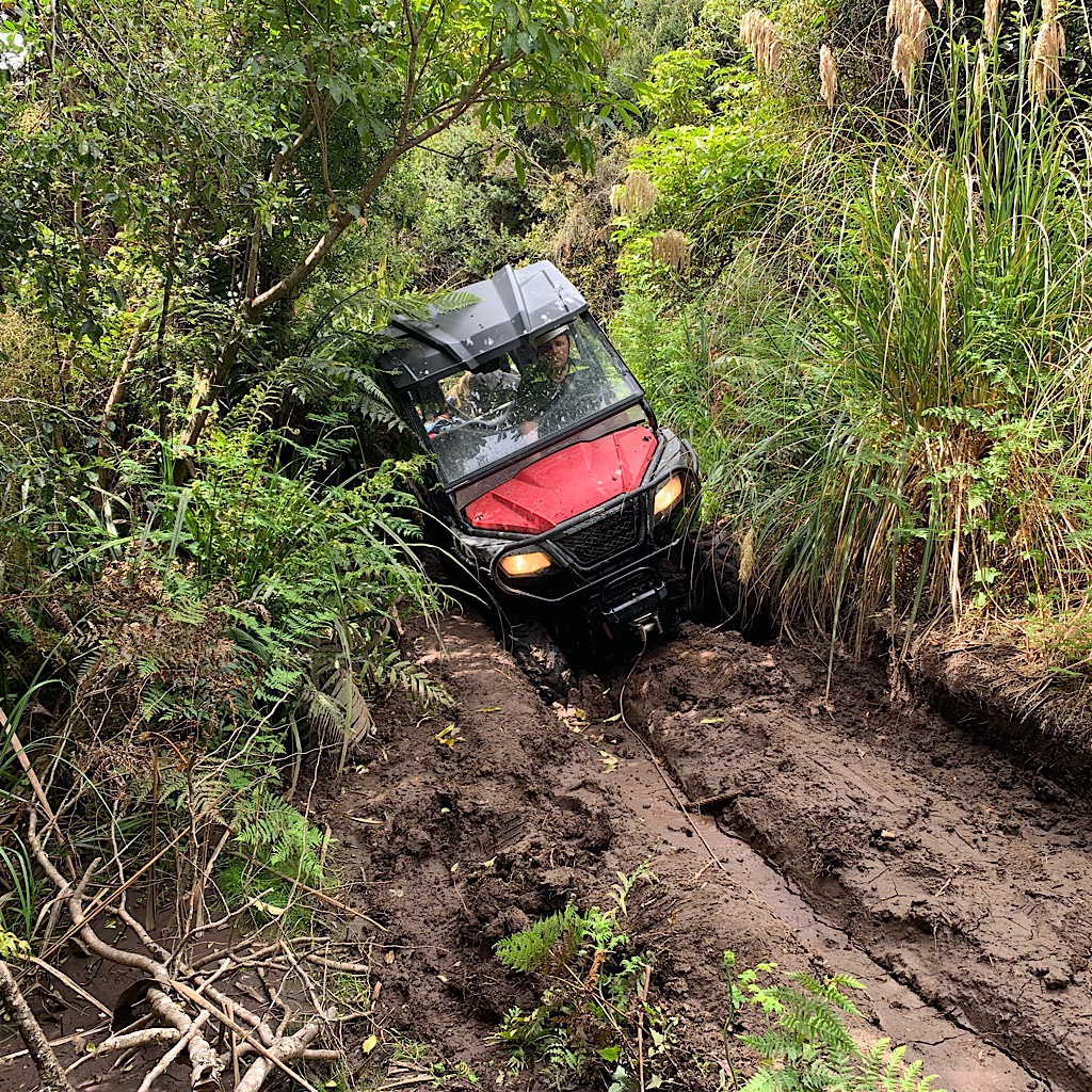 Stuck in the mud, Matthew had me wrap a line around a tree as he slowly winched his way out.