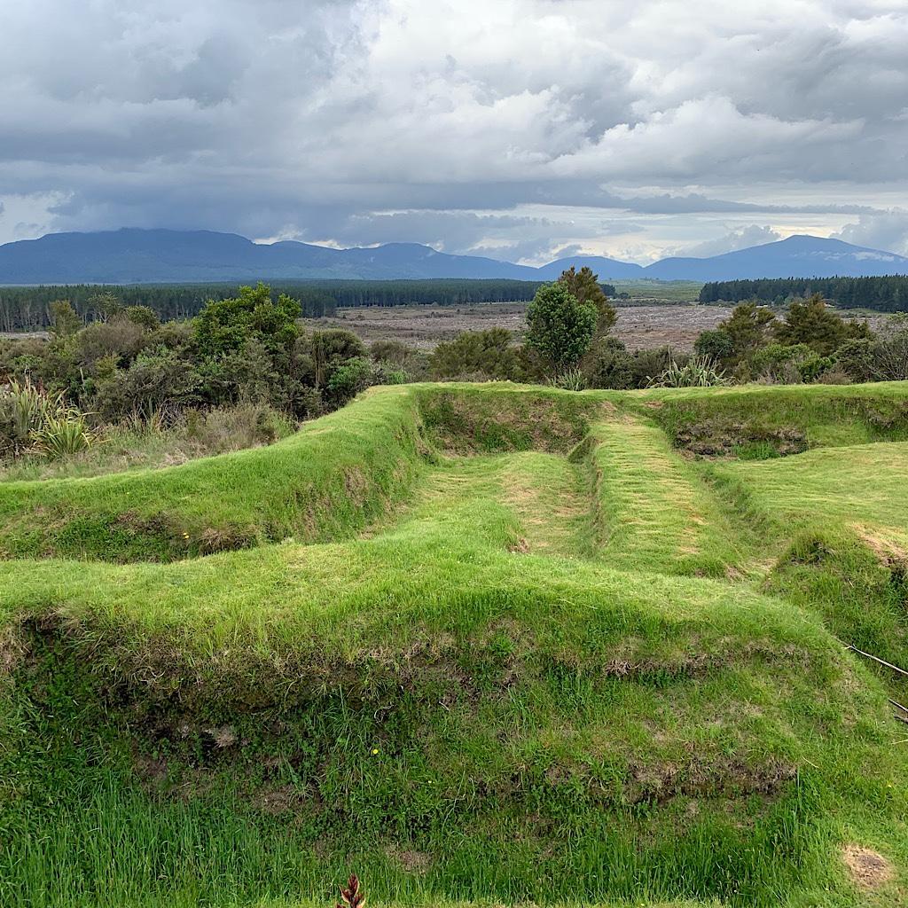Ramparts at the redoubt look towards volcanic Tongariro Park.