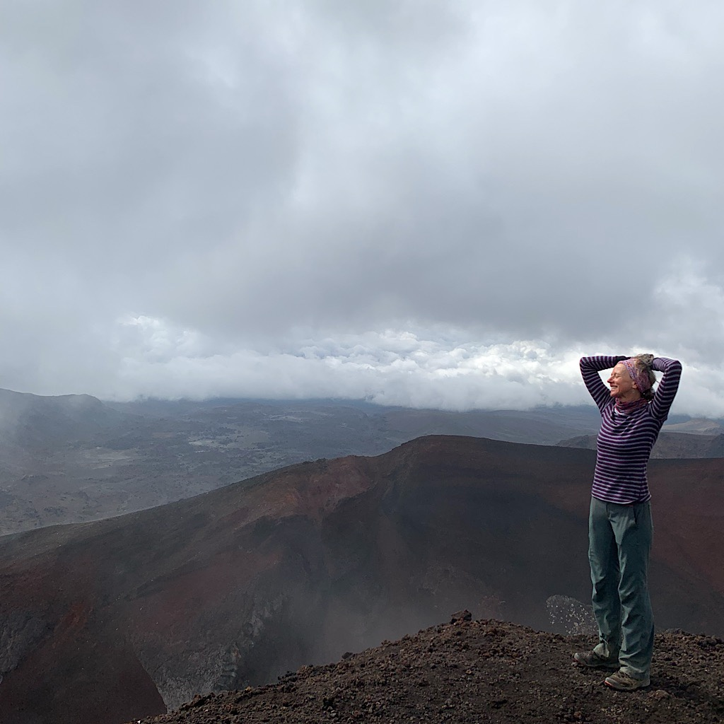 On the edge of the crater.