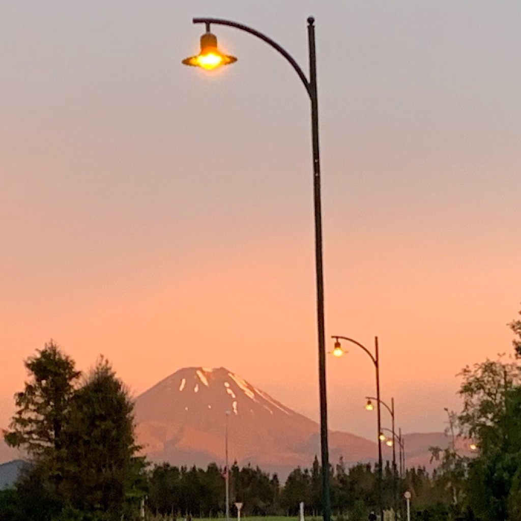 Mount Doom and street lights.