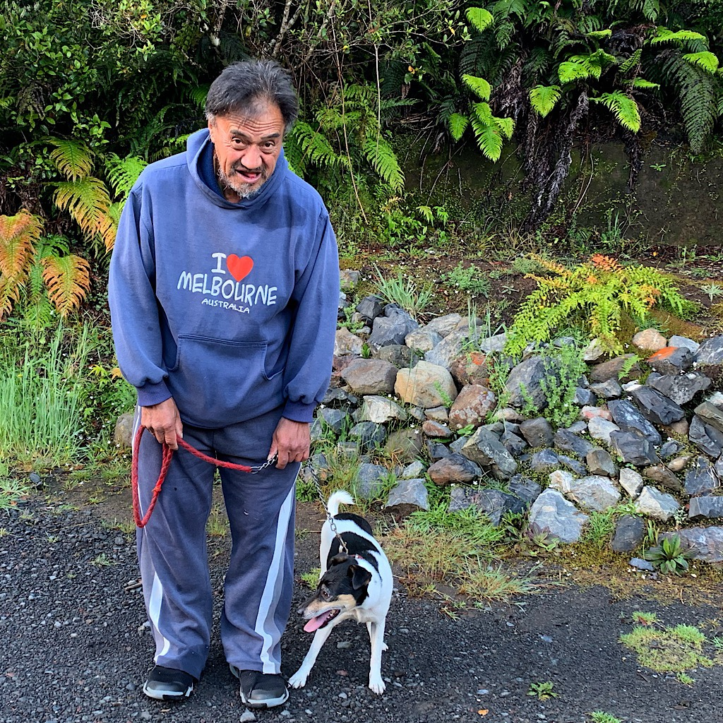 A lovely local waling his dog and urging me on as I walk mostly downhill all day.