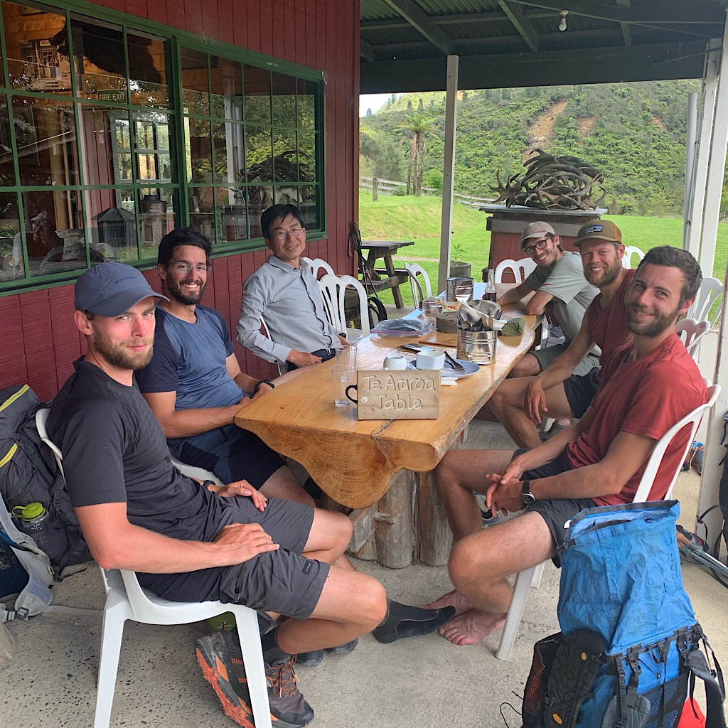 """We get our own """"Te Araroa"""" table at the Blue Duck Cafe whetre we all eat way too much food and charge our phones before the river adventure ahead."""