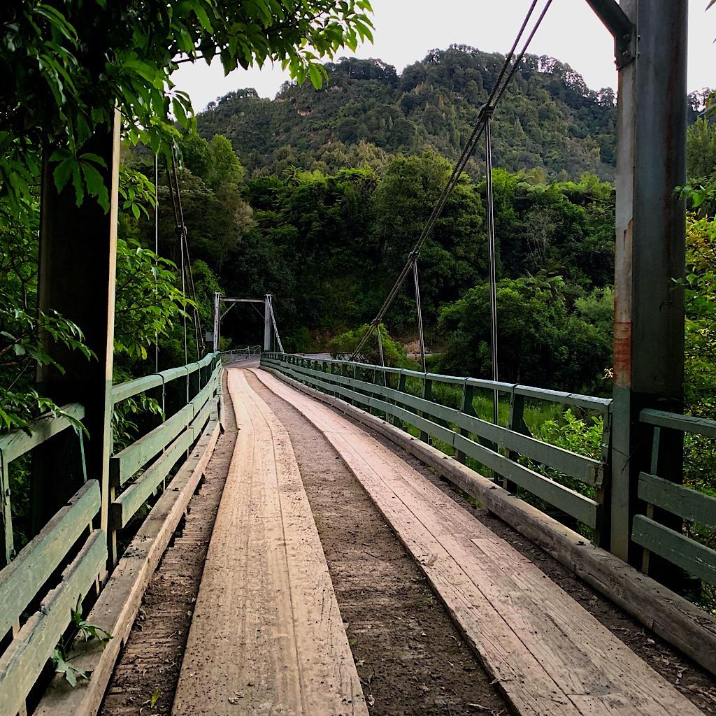 The bridge across the Retaruke where people look for whio or blue ducks in the rapids below.