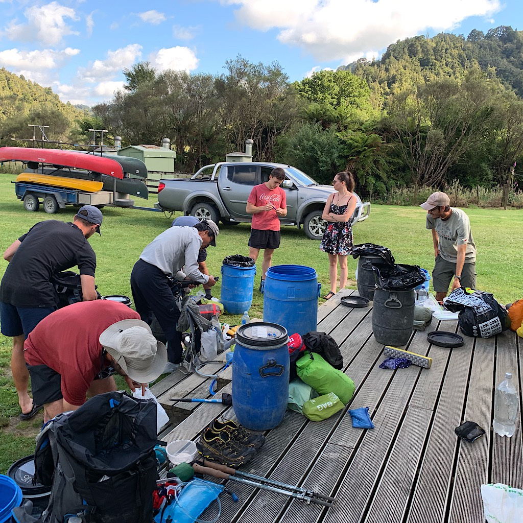 Packing our barrels and getting a briefing from our friends at Taumaranui Canoe Hire before setting off.