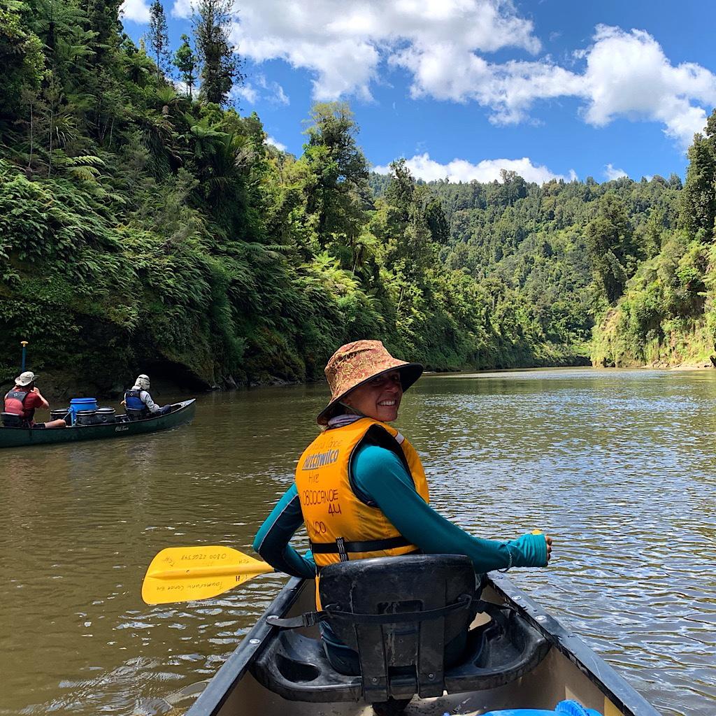 "Thru-canoer at the start of the Whanganui ""Great Walk"" at Wade's Landing in Wahahoro."