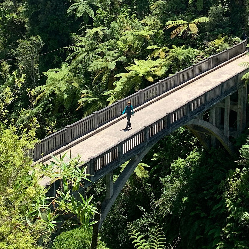 "Crossing the ""Bridge to Nowhere"" spanning the Mangapurua Stream in Whanganui National Park."
