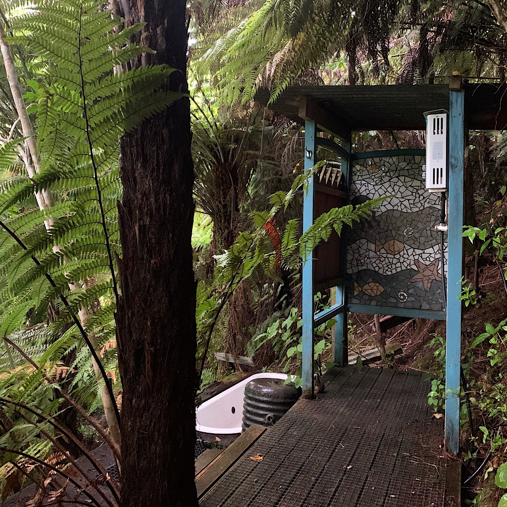 The quirky outdoor shower at Flying Fox. We were the only guests and the owners did not seem to want us there.