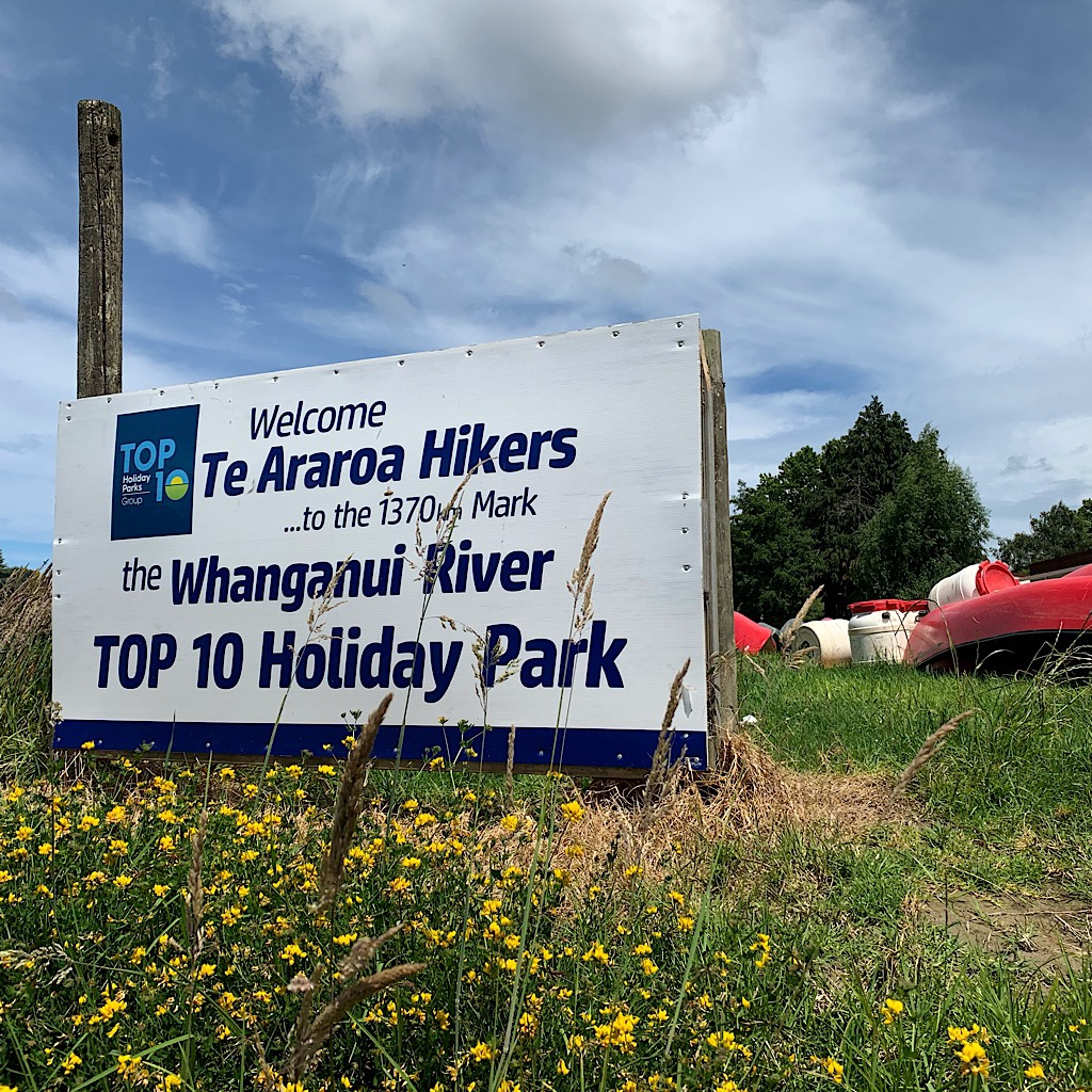 There's nothing as nice as a welcome sign for us hikers at the end of the Whanganui Journey.