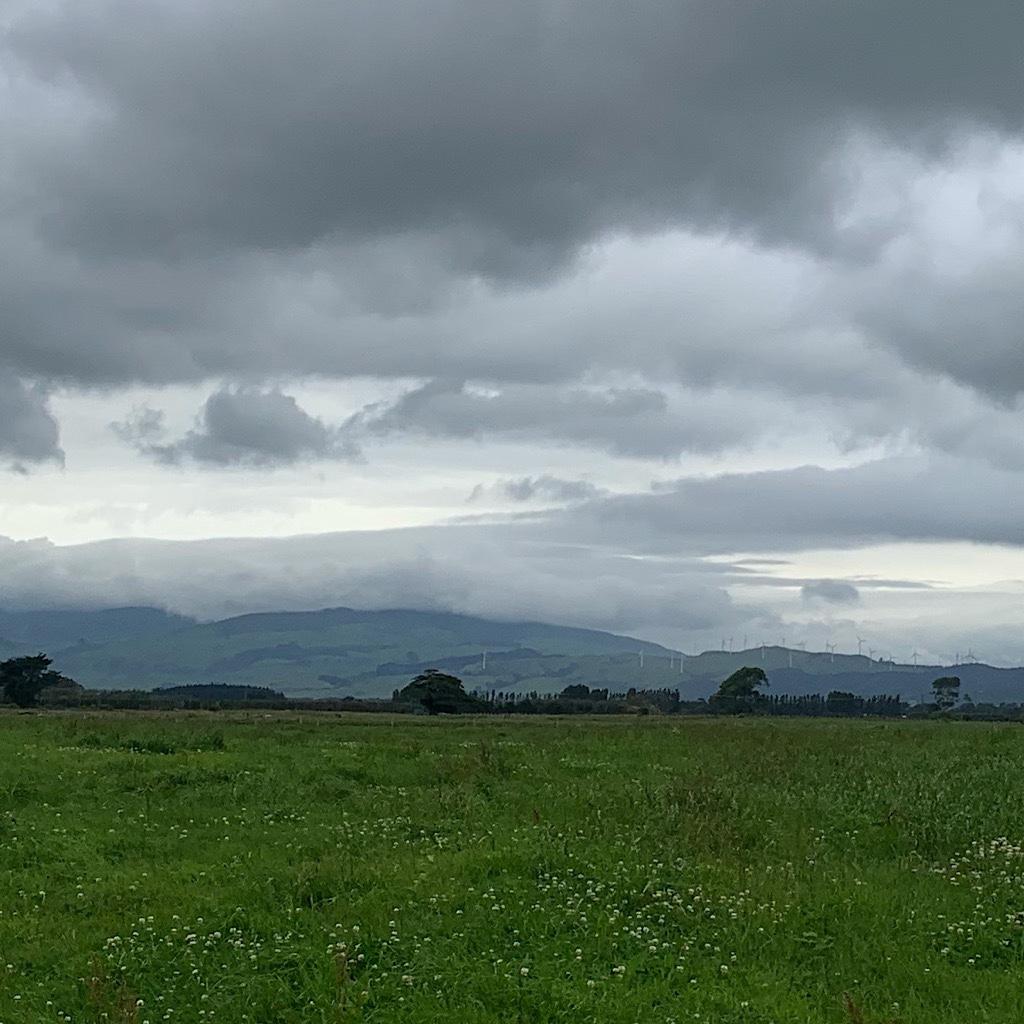 Windmills on the hills near Palmerston North amidst heavy skies.