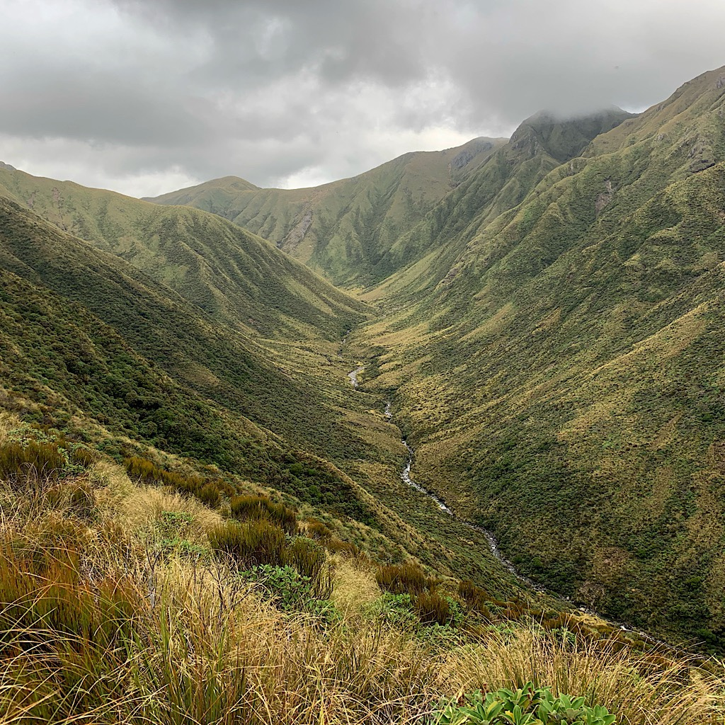 Looking down from the ridge walk in the Tararuas. The range is particularly dangerous because most of the hiking is exposed and weather changes fast.