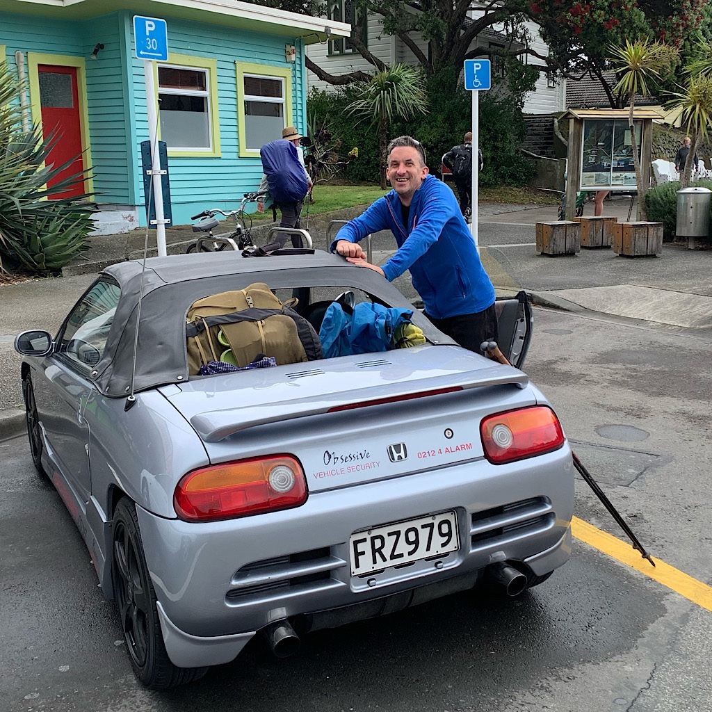 Julian picked me up in his tiny and noisy Honda Beat. We stuffed our gear around the 3-cylinder engine and in the back window.