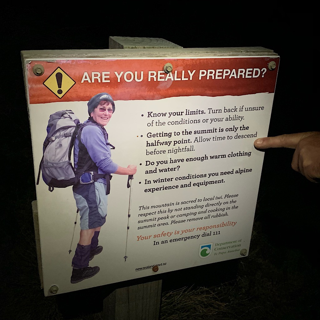 Signs everywhere warn of the dangers of climbing Taranaki, which is completely exposed to New Zealand's infamous fast-changing and extreme weather.